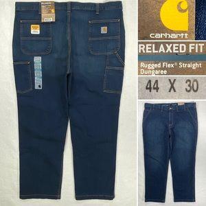 NWY Carhartt Rugged Flex Straight Dungaree Men's 44 x 30 Relaxed Fit Cargo Jeans
